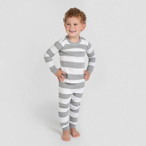 Burt's Bees Baby® Toddler Rugby Stripe Organic Cotton Snug Fit Pajama Set - Gray - image 1 of 4