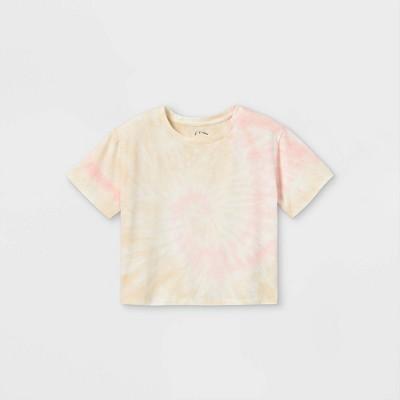 Girls' Boxy Cropped Tie-Dye Short Sleeve T-Shirt - art class™