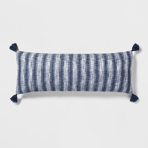 Blue Stripe Gauze Oversized Lumbar Pillow - Threshold™ - image 1 of 3