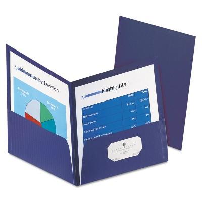 "Oxford Honeycomb High-Capacity Twin Pocket Folders 1"" Capacity Dark Blue 4/Pack 59626234"