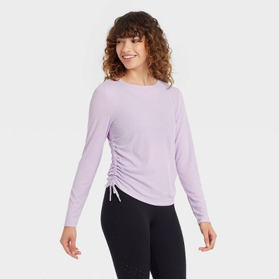 Women's Long Sleeve Ribbed Top with Side-Cinch Detail - JoyLab™