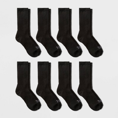 Men's Crew Cushion Athletic Socks 6+2pk - All in Motion™ Black 6-12