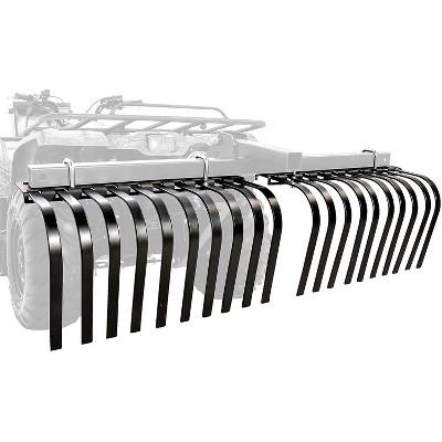 Camco Black Boar ATV/UTV Custom Outside Vehicle Heavy-Duty Adjustable Landscape Rake Accessory Attachment Tool