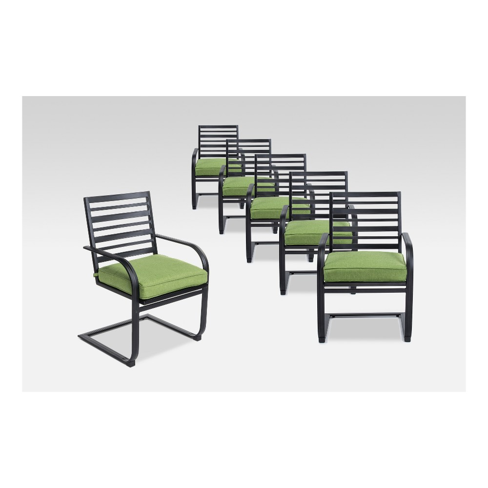 Ft. Walton 6pk Steel Patio Motion Dining Chairs - Green - Project 62
