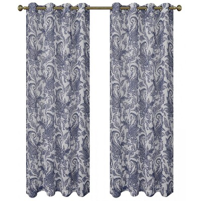 Regal Home 2 Pack: Regal Home Semi Sheer Grommet Top Paisley Curtains - 52 in. W x 84 in. L, Ink Blue