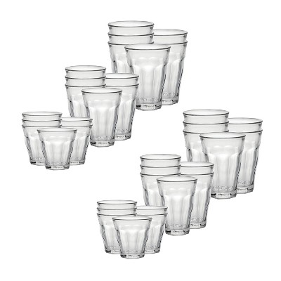 Duralex Picardie 36 Piece Clear Tempered Glass Drinkware and Tumbler Cup Set for Wine, Tea, Water, and Cocktails