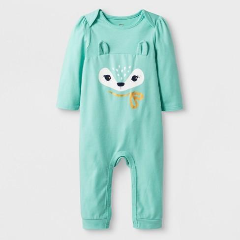 Baby Girls' Long Sleeve Fawn Romper - Cat & Jack™ Green Newborn - image 1 of 1