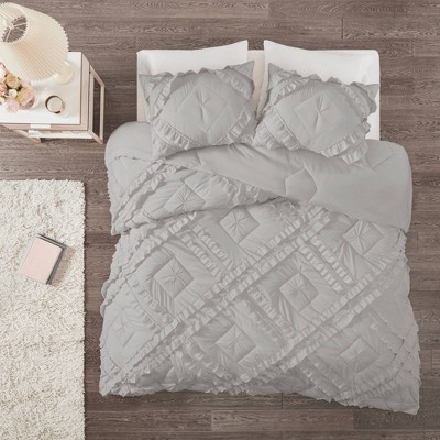 Elia Full/Queen 3pc Tufted Diamond Ruffle Coverlet Set Gray