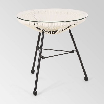 Nusa Faux Rattan Modern Side Table - Christopher Knight Home