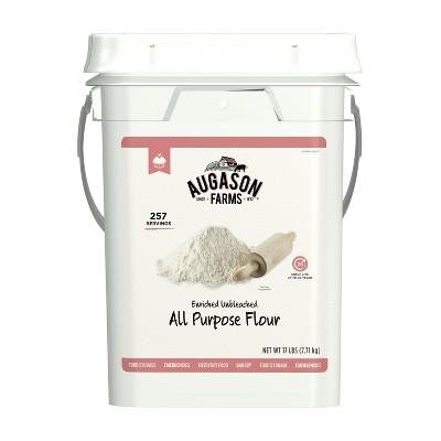 Augason Farms Enriched Unbleached All Purpose Flour Emergency Bulk Food Storage 17 Pound 4-Gallon Pail 257 Servings