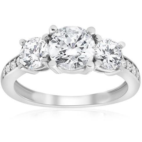 Pompeii3 1 1/2ct 3-stone Diamond Engagement Ring 14k White Gold : Target