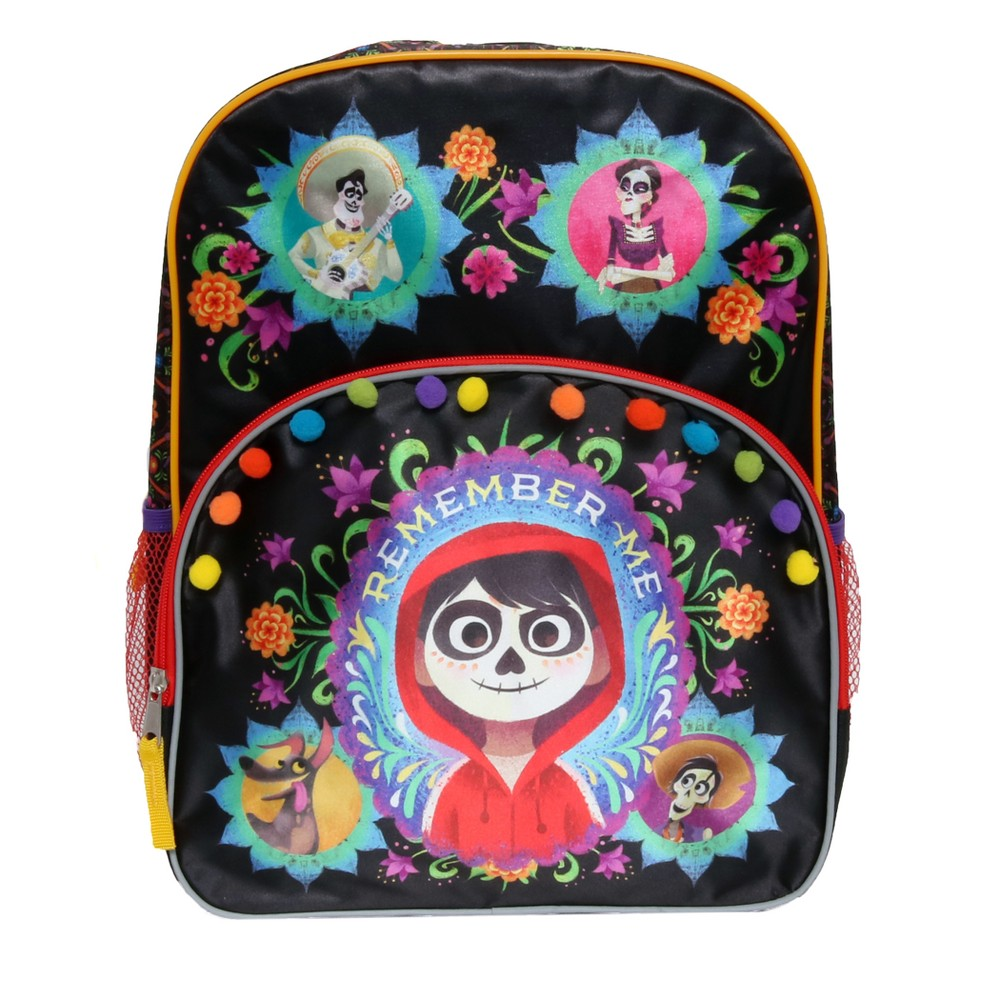 Disney Coco Kids' 16 Remember Me Backpack - Black This backpack features your favorite characters from Disney/ Pixar Coco movie. This backpack makes a great fashion statement. This backpack features 6 different color pom pom that will have your child ready for Dia de los Muertos. Color: Black. Gender: Female. Pattern: Fictitious character.