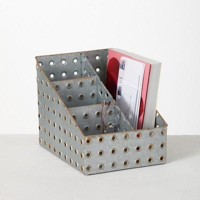 "Sullivans Multi-functional Iron Desk Caddy & File Holder 12.25""H Silver"