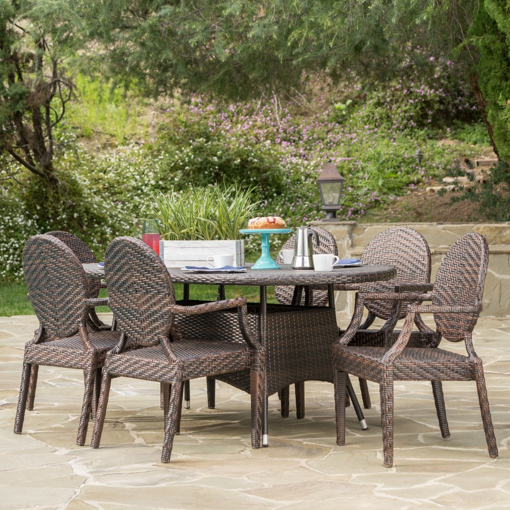 Bishop 7pc Wicker Dining Set - Brown - Christopher Knight Home