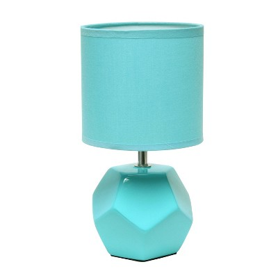 Round Prism Mini Table Lamp with Matching Fabric Shade Blue - Simple Designs