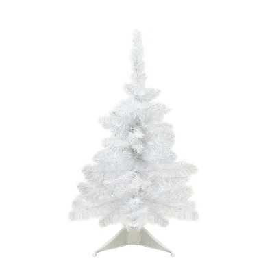 """Northlight 18"""" x 13"""" White Glimmer Iridescent Spruce Artificial Christmas Tree - Unlit"""