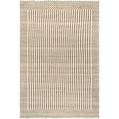 nuLOOM Ella Jute and Cotton Striped Border Area Rug