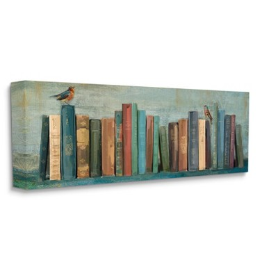 Stupell Industries Books And Birds Green Blue Textured Painting