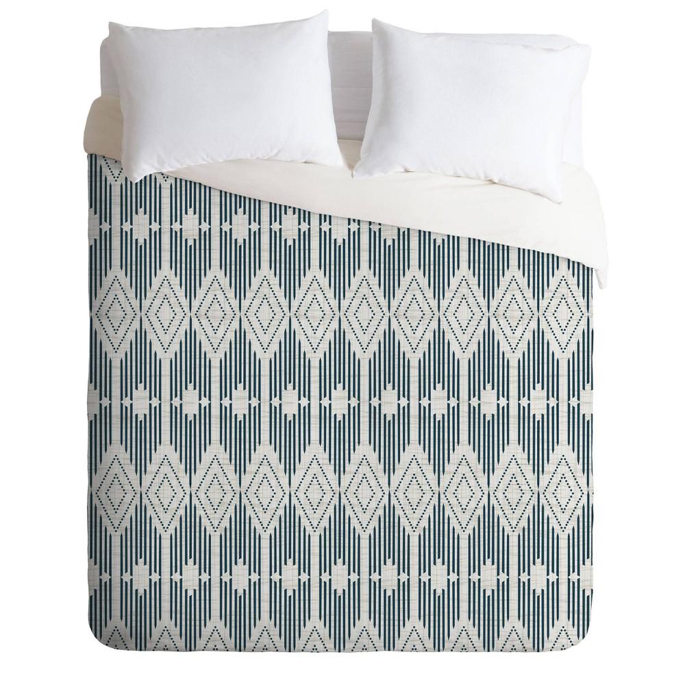 King Heather Dutton West End Midnight Geometric Comforter Set Beige Deny Designs