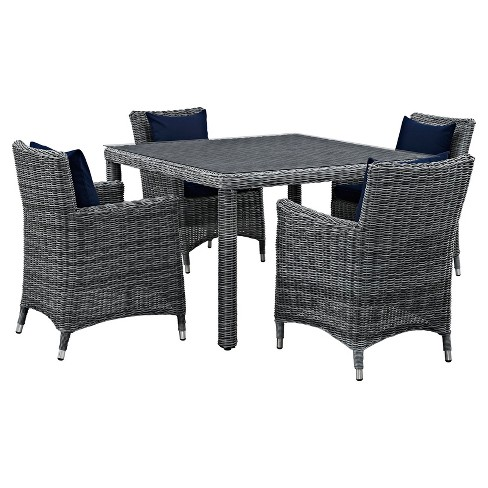 Summon 5pc All-Weather Wicker Round Patio Dining Set with Sumbrella Fabric - Modway - image 1 of 7