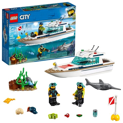 LEGO City Great Vehicles Diving Yacht Ship Building Toy and Diving Minifigures 60221 - image 1 of 4