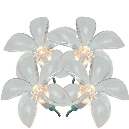 J. Hofert Co 20ct Plumeria Flower Shaped Outdoor String Lights Clear - 8' Green Wire - image 1 of 5