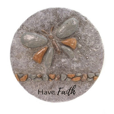 """Home & Garden 11.5"""" Butterfly Pebble Stepping Stone Landscape Have Faith Roman, Inc  -"""