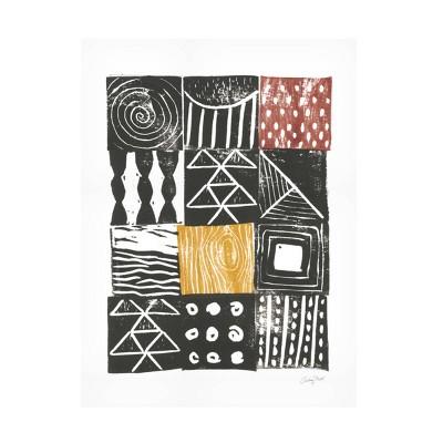 "35"" x 47"" Courtney Prahl 'Block Print V' Unframed Wall Canvas Red/Yellow - Trademark Fine Art"