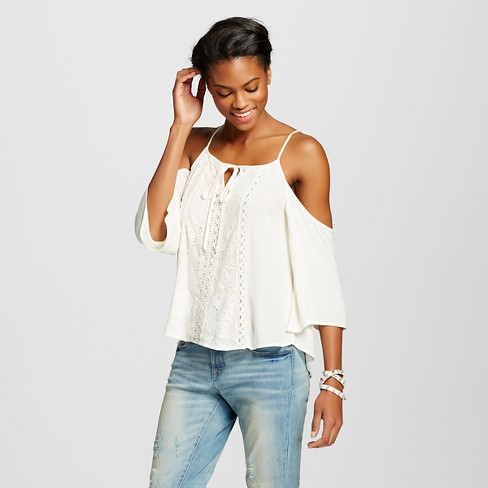 61038cd5113f5f Women s Crochet Cold Shoulder Woven Top - Xhilaration™ (Juniors ). Shop all  Xhilaration