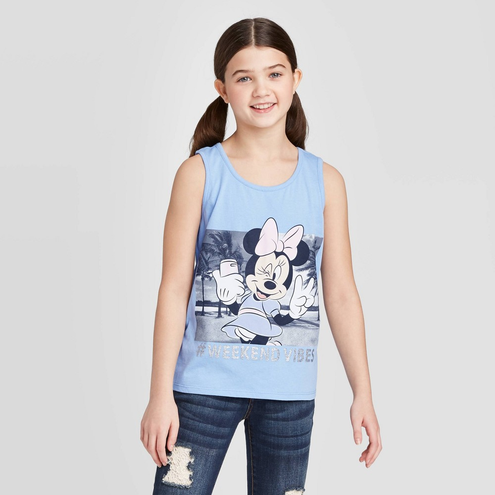 Image of Girls' Minnie Mouse '#Weekend Vibes' Tank Top - Blue XS, Girl's