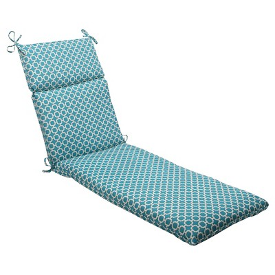 Outdoor Chaise Lounge Cushion - Teal/White Geometric