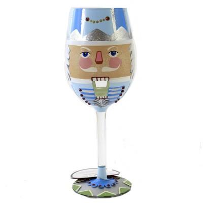 "Tabletop 9.0"" Crashing Through The Nuts Stemmed Wine Glass Christmas Enesco  -  Drinkware"