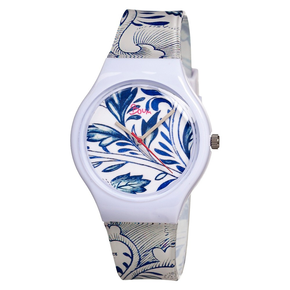 Women's Boum Miam Watch with Custom Patterned Dial - White