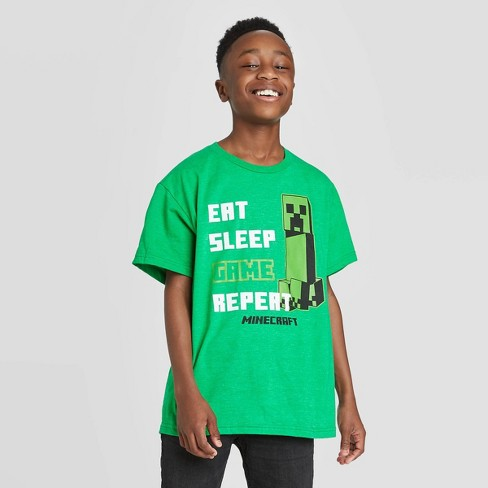 Boys' Minecraft Game List Short Sleeve T-Shirt - Green - image 1 of 4