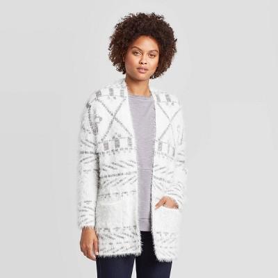 Women's Printed Long Sleeve Eyelash Cardigan Sweater   Knox Rose™ White by Knox Rose White…