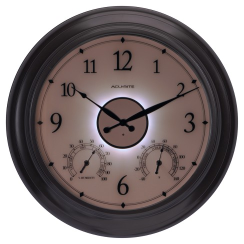 24 Metal Outdoor Indoor Wall Clock With Illuminated Face Thermometer And Humidity Bronze Finish Acurite Target