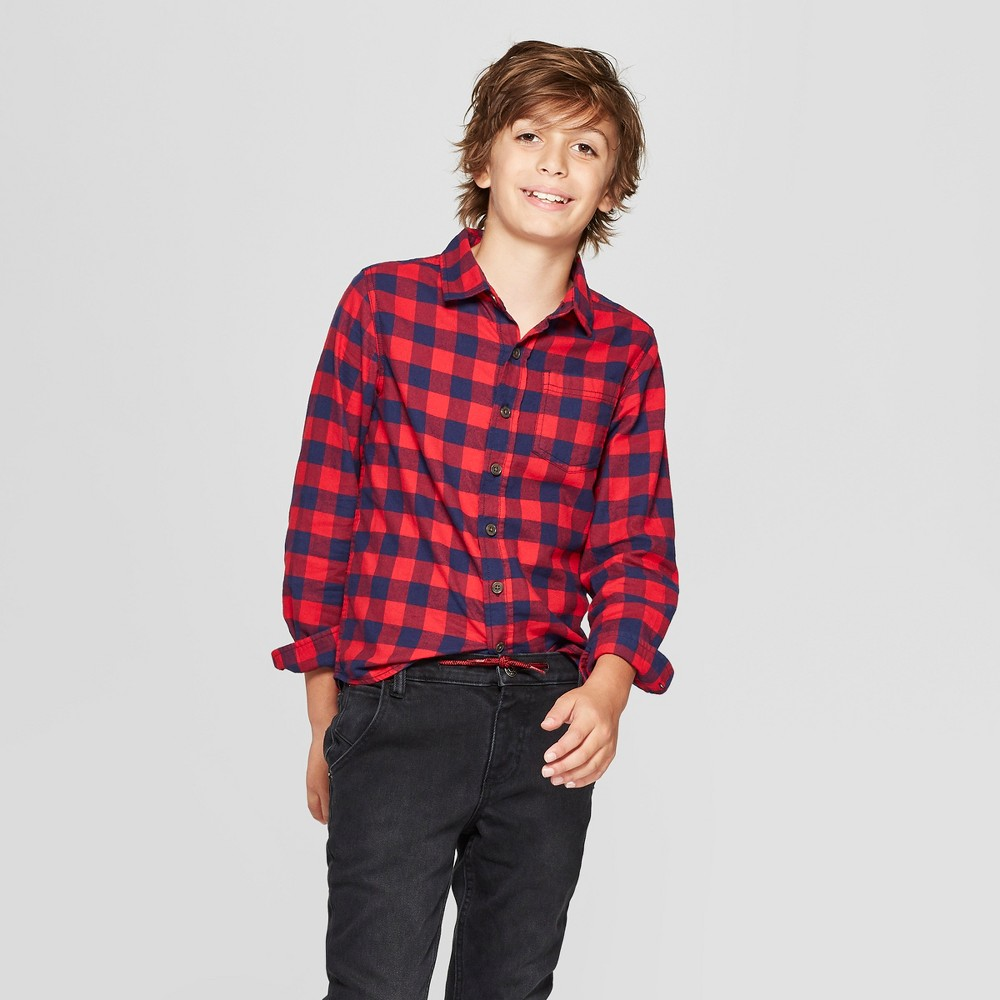 Boys' Classic Flannel Long Sleeve Button-Down Shirt - Cat & Jack Red/Navy XL