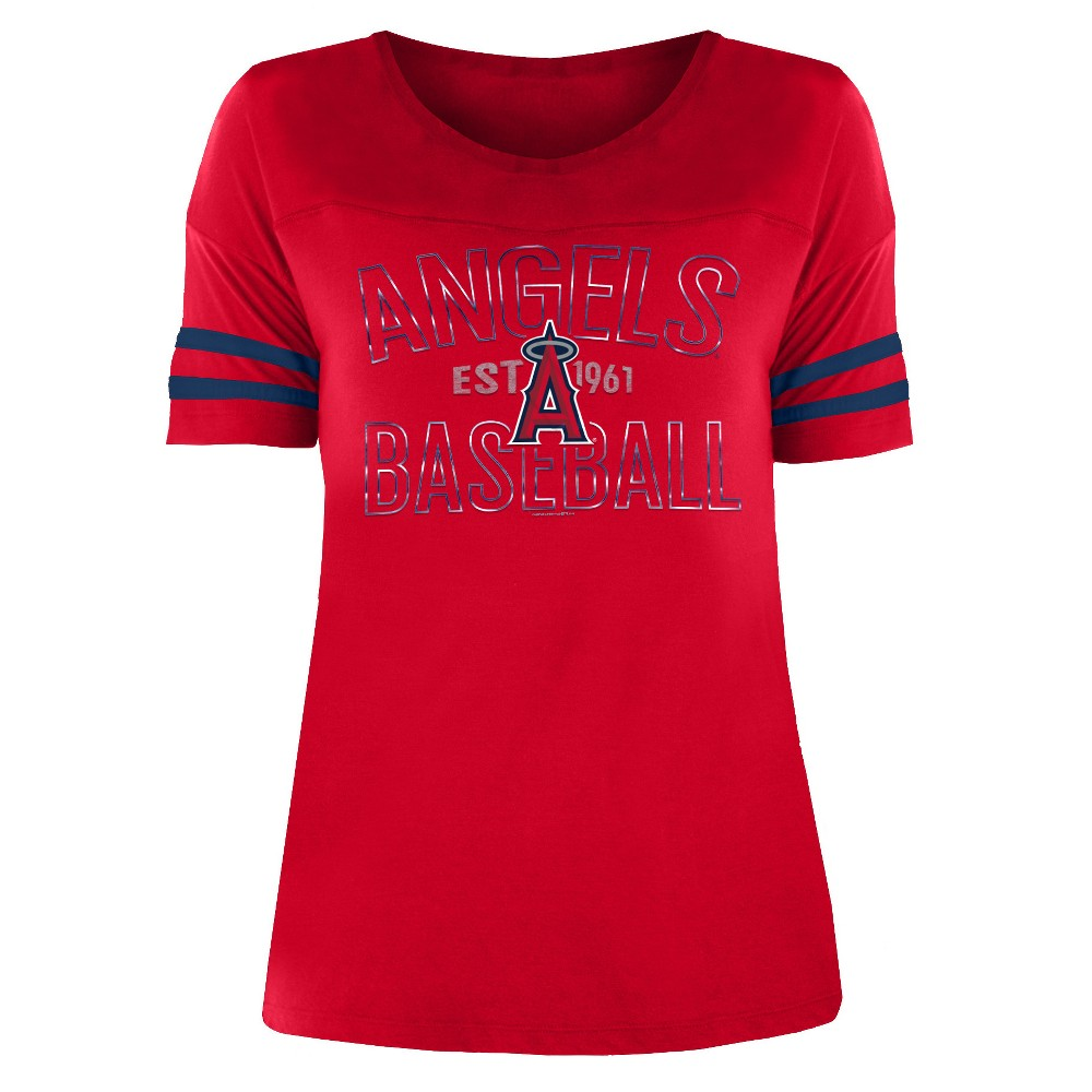 Los Angeles Angels Women's Dugout Poly Rayon T-Shirt - L, Multicolored