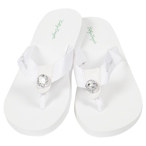 b048d439038f White Satin Bride Robe With Flip Flops With Silver Thread   Target