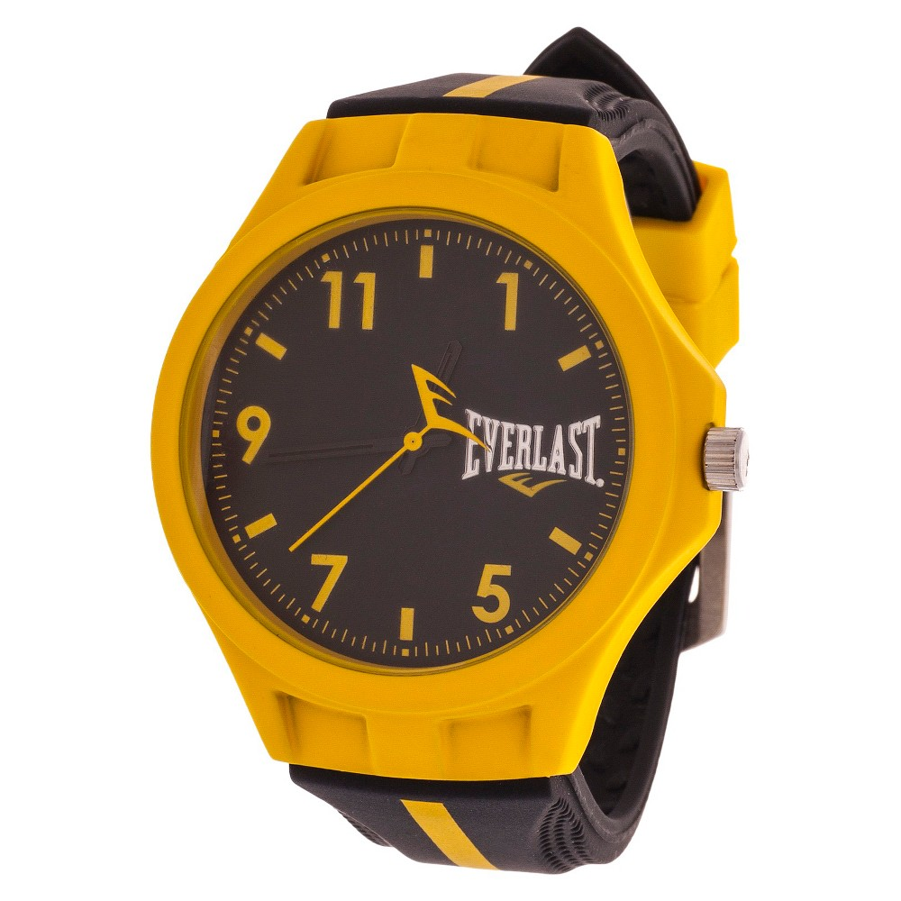 Everlast Soft Touch Accented Rubber Strap Watch - Yellow