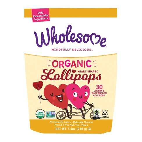 Wholesome Organic Valentine's Day Heart Lollipops - 30ct/7.4oz - image 1 of 1