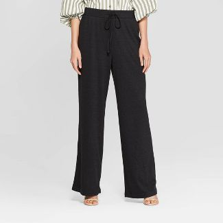 Women's Textured Knit Wide Leg Pants - Who What Wear™ Black S