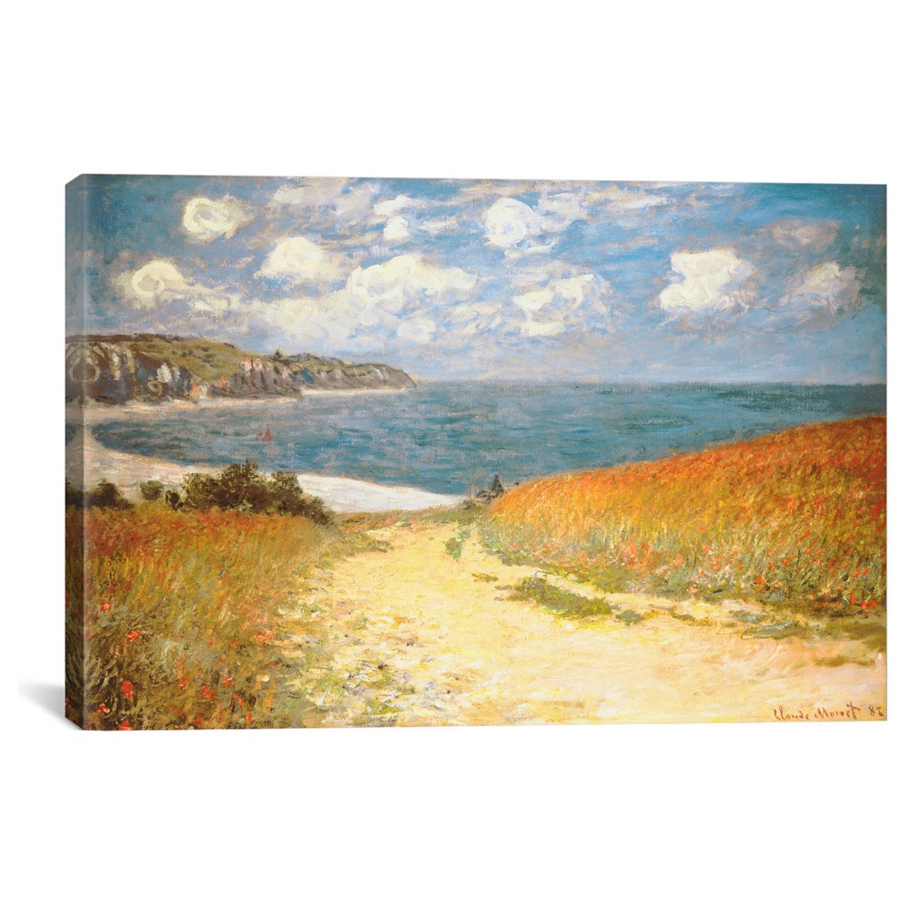 "Image of ""12"""" x 18"""" Path in the Wheat at Pourville, 1882 by Claude Monet Canvas Print - iCanvas, Size: 12 x 18, Beige Blue Yellow"""