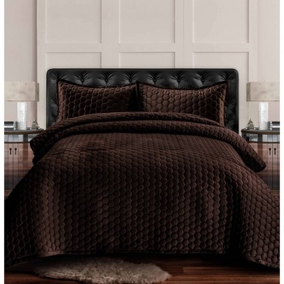 3pc Queen Lugano Honeycomb Velvet Oversized Solid Quilt Set Chocolate - Tribeca Living