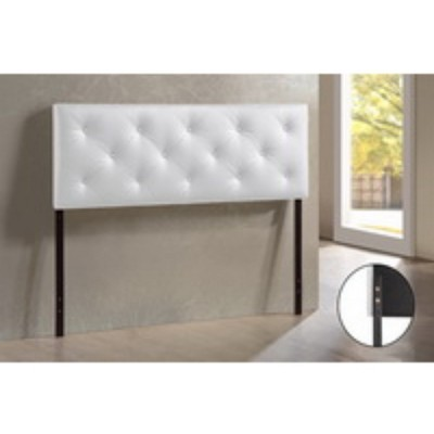 Queen Baltimore Modern and Contemporary Faux Leather Upholstered Headboard White - Baxton Studio