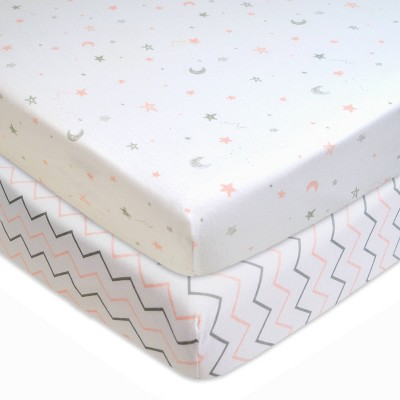 TL Care 100% Fitted Cotton Playard Sheet Star Zigzag Pink - 2pk
