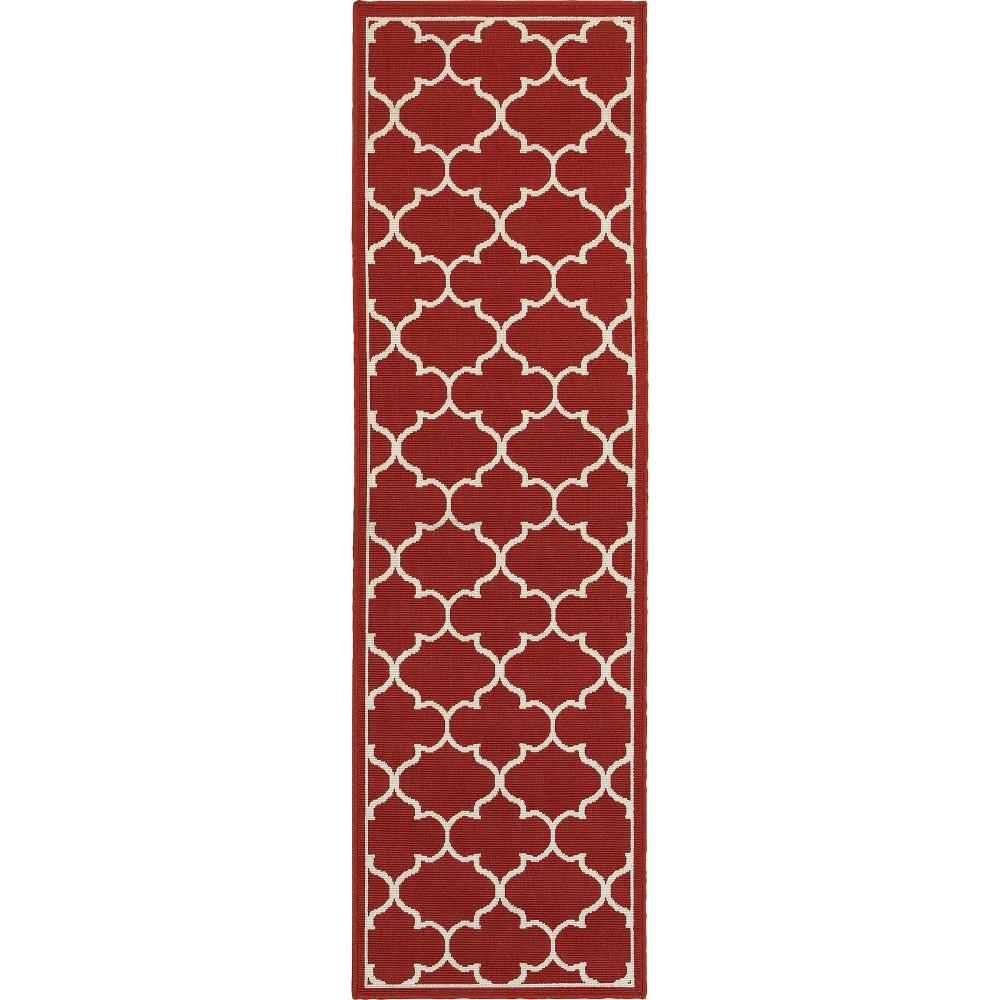 2 39 3 39 39 X7 39 6 39 39 Marlowe Lattice Patio Rug Red Ivory