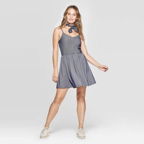 Women's Sleeveless V-Neck Striped Knit Dress - Universal Thread™ Blue - image 1 of 4