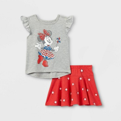 Toddler Girls' Minnie Mouse Americana Flutter Sleeve Top and Bottom Set - Red