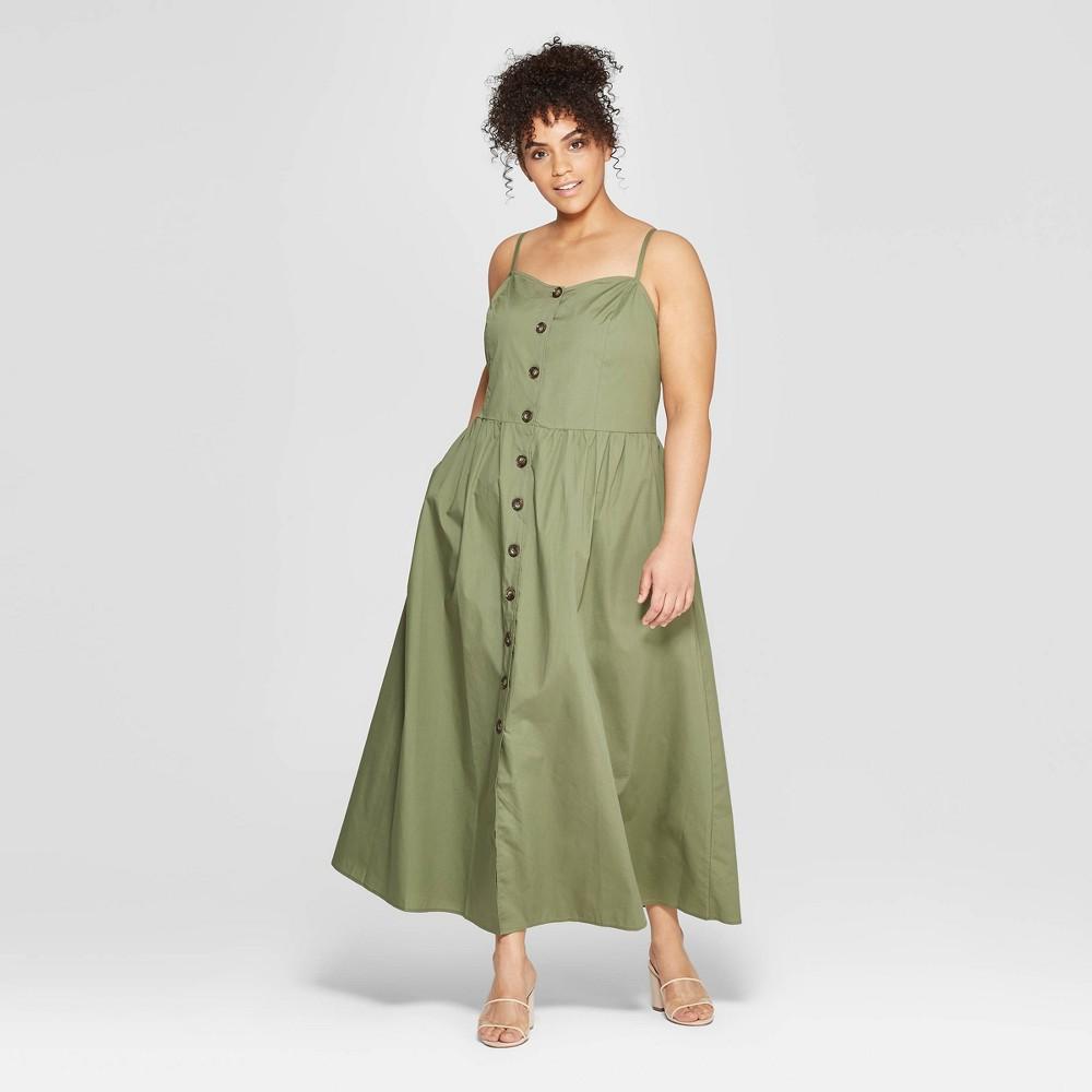 Women's Plus Size Sleeveless V-Neck Button-Down Maxi Dress - Who What Wear Green X